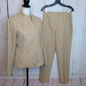 Lafayette 148 Tan Career Pantsuit /8 Jacket/6 Pant